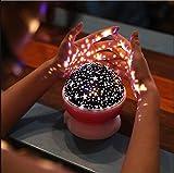 FONKIC Baby Nachtlicht Mond Sterne Projektor Schreibtischlampe USB Rechargable Kreatives Geschenk,Pink