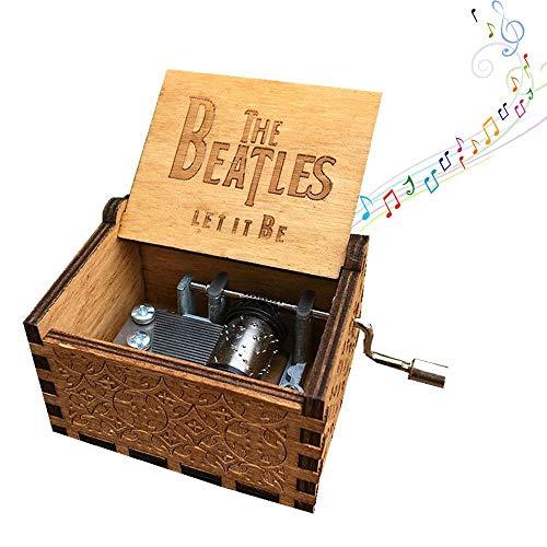 (AOLVO Spieluhr mit 8 Noten, mit Handkurbel, aus Holz, geschnitzt Beatles Music Box)