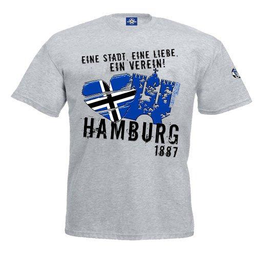 Volkspark Hamburg Streetwear T-Shirt Eine Stadt Eine Liebe Ein Verein (Grau, XXL)