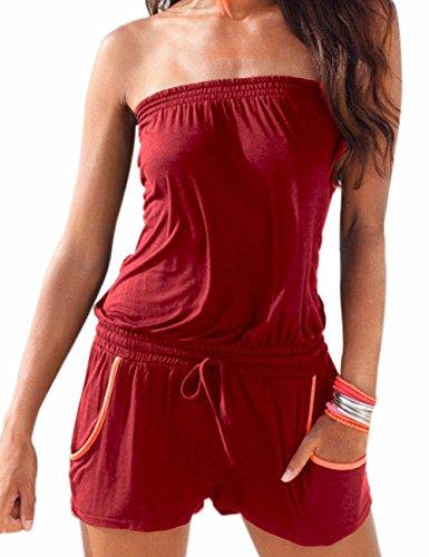 Emma Damen Strapless tr?gelos weg von der Schulter kurzer Overall Sexy Sommer Strand mit Druck Jumpsuits Rompers(WR,M) (Top Tragen Bandeau)