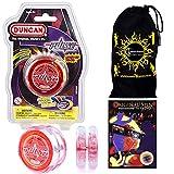 Duncan PULSE LED YoYo (Rot) Leucht Yo Yo + 75 Yo-Yo Tricks DVD in Englisch + Stoff Reisetasche! Große YoYo für Kinder und Erwachsene!