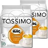 Tassimo Café HAG Crema Décaféiné, Rainforest Alliance Vérifié, Lot de 2, 2 x 16 T-Discs