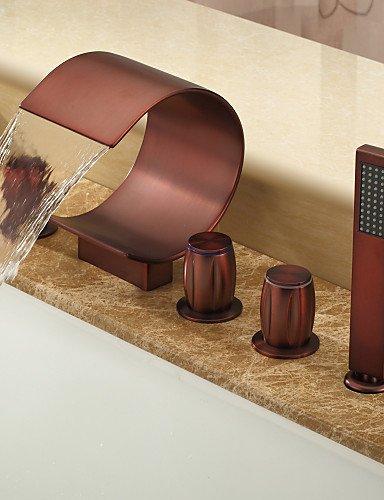 KISSRAIN® Oil-bronzo lucidato rubinetto vasca diffuso cascata