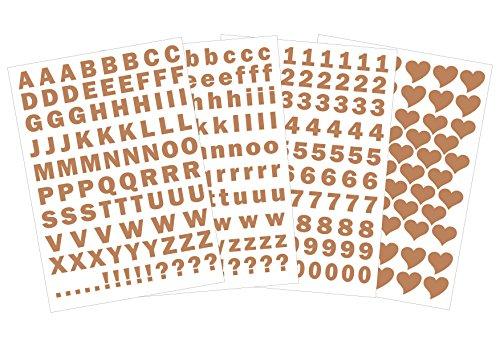 das-label Buchstaben groß und klein - Zahlen und Herzen als Minikollektion Design No.3 ca. 1 cm Höhe | kupfer Vinyl matt | selbstklebende gestanzte Ziffern und Herzen | zum Basteln Scrapbook | Sticker | Aufkleber | zum Beschriften