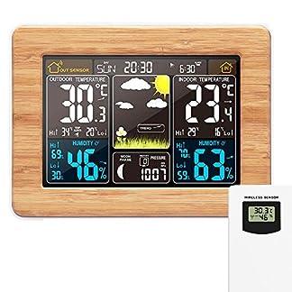 Estación meteorológica inalámbrica Reloj digital colorido del pronóstico del tiempo con sensor exterior Termómetro exterior Temperatura Humedad Barómetro Alarma Fase lunar Pantalla Reloj meteorológico