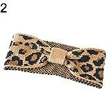 Xmxdesiz Mode Femme Imprimé léopard noués Turban Bandeau élastique en tricot Bandeau Cheveux