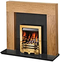 Adam Miami Fireplace Suite in Oak and Black Granite with the Gem Gas Fire in Brass, 46 inch