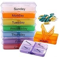 Preisvergleich für New 7Tage Tablet Pille Box organizer Medizin Aufbewahrungsbox Halter Spender Travel