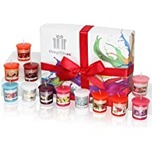 A Fresh and Fruity Scented Candle Gift Set, Beautifully Presented in a Free Gift Box, Containing 12 Fragranced Candles. Scented Candles Make Ultimate Gifts for Women, Great Gifts for Her or Perfect Women's Gifts (Sweetfluff)
