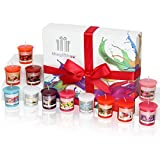 A Fresh and Fruity Scented Candles Gift Set, Beautifully Presented in a Free Gift Box, Containing 12 Fragranced Candles. Perfect Birthday Gift, Christmas Gift and Gift for Women (Sweetfluff)