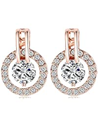 Aaishwarya 18K Rose Gold Plated Austrian Crystal Stud Earrings For Women/Girls