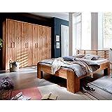 Pharao24 Massivholz Möbel Set für Schlafzimmer Wildeiche geölt Liegefläche 200x200