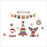 Rainbow Fox Navidad decoración pegatinas de pared árbol de Navidad Papá Noel ciervo Navidad pegatinas de la ventana
