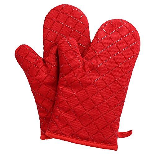 Aicok Ofenhandschuhe, Extrem Hitzebeständige Grillhandschuhe, Anti-Rutsch Backofen Handschuhe, zum Kochen, Backen, Barbecue Isolation Pads, Rot, 1 Paar