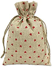 Magnus Eco Bags jute pouch/jute bags/potli bags/gift bags (10x7 Inches; Red Little Hearts; 10 Pieces)