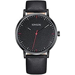 SONGDU Mens Fashion Minimalist Casual Quartz Wrist Watch Black Leather Strap Luminous Hands