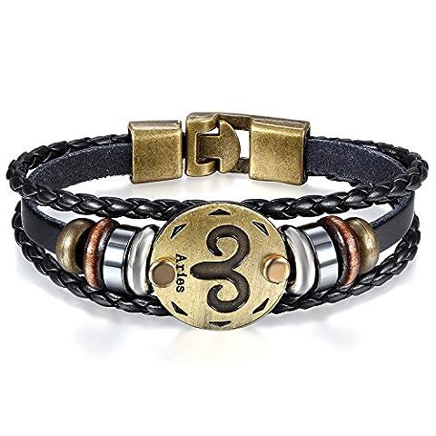 JewelryWe Bijoux Bracelet Homme Bélier Signe Astrologique Zodiaque Zodiac Charms Perle Manchette Cuir Alliage Fantaisie pour Homme et Femme Chaîne de Main Couleur Noir Avec Sac