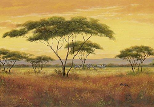 Artland Poster Kunstdruck Wand-Bild Fine-Art-Print in Galeriequalität Reproduktionen A. Heins Afrikalandschaft Landschaften Afrika Malerei Ocker 70 x 100 x 0,1 cm A0ZN -