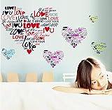 Zlxzlx Kreative Liebesmusterentwurfs-Wandaufkleber Für Schlafzimmerhochzeitswandkunstdekor E Diy Pvc-Abziehbilder