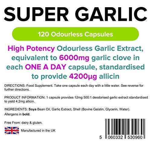 Super Strength Knoblauch 6000mg – 120 Kapseln geruchlos - 3