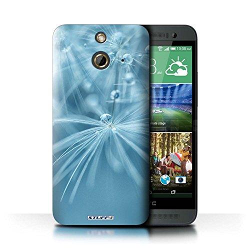 Kobalt® Imprimé Etui / Coque pour HTC One/1 E8 / Fleur Jaune conception / Série Gouttes de Fées Fleur Bleu