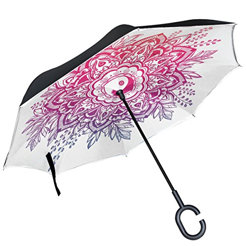ALAZA Ornate Mandala Corona Yin y Yang Boho Paraguas invertido Doble Capa Resistente al Viento Reverse Paraguas