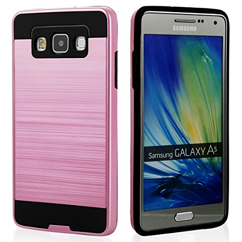 EGO® Hard Case Schutz Hülle für Samsung A500 Galaxy A5, Grau Metallic Effect Aluminium Brushed Handy Cover Schale Bumper Etui Pink