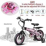 LMJ-Kart Bicicletta da Mountain Bike per Bambini, Ruota da 12/14/16 Pollici, Corpo Retrattile in Lega di magnesio, Set di elmetti Regalo,Pink,12inch