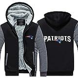 Disery Giacca con Cappuccio Sport Football Americano New England Patriots Autunno Allenamento Invernale Suit Manica Lunga Ispessimento più Velluto Zipper Sweater,A,4XL