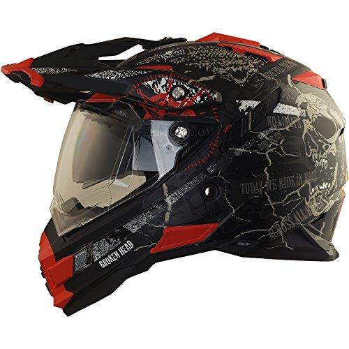 Broken Head Road Pirate Cross-Helm mit Visier | Endurohelm - MX Motocross Helm mit Sonnenblende - Quad-Helm Größe XXL (63-64 cm)