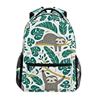 School Backpack Sloth with Palm Leave School Bag Cute Animal Bookbags Elementary Canvas Rucksack Laptop Book Bag Anti Theft Casual for Kids Girls Boys Women