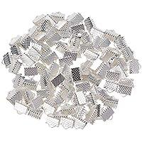 SUPVOX 100PCS 8MM Ribbon Ends Plated Fasten Broches Con textura Crimp End Clamps Extremos de cable Mazi Buckles Zipper Clips Accesorios de bricolaje de joyería (Plata)