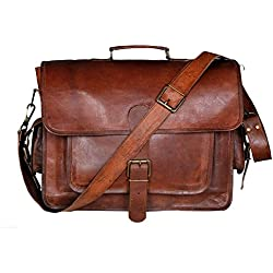 krish Vintage Maletín Laptop Bag–Bolso de mano de piel Crossbody Bolsa de hombro
