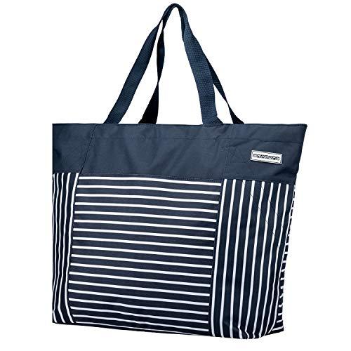 anndora XXL Shopper blau weiß gestreift - Strandtasche 40 L Einkaufstasche