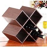 MPEN Pu Leder Weintraube Weinregal Kreative Holz Struktur Weinregal Wohnaccessoires Weinregal Geometrische Design 5-Flasche Speicherorganisator (Farbe : C)