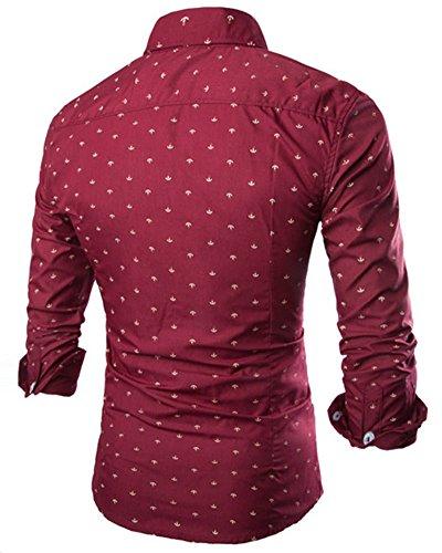 Homme Chemise Habillée Slim Fit Manches Longues Shirt Vin Rouge