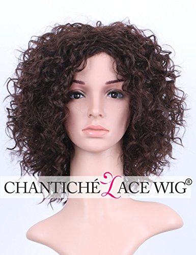 Chantiche Afro Curly Cheap Synthetic Hair perrücke Brown Short Bob Kinky Curly perücken uk Heat Resistant Fiber Hair for (Perücke Flat Top)