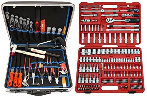Famex 619-09 Werkzeug Komplettset High-End Qualität in ABS Schalenkoffer 32 L mit 173-teiligem Steckschlüsselsatz