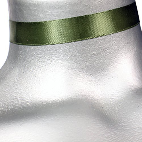 Plain Olive (Twilight's Fancy 5/8 Plain Olive Green Satin Ribbon Choker Necklace -- Size Small by Twilight's Fancy)