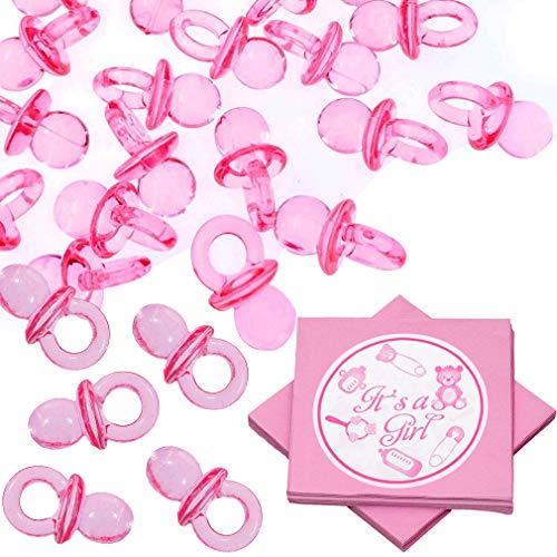 Ciuccio acrilico - wents 100 pcs ciucci rosa decoro 20 pcs tovaglioli bebe decorazione per battesimo baby shower matrimonio compleanno kids party
