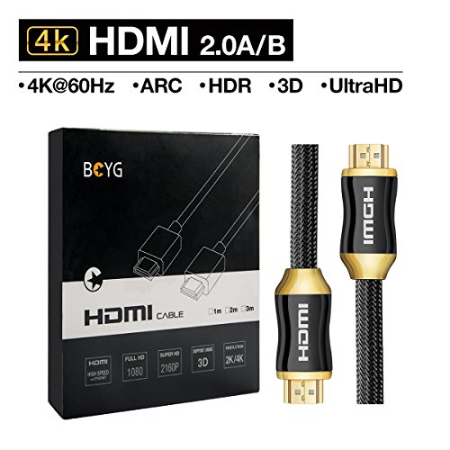 BOYG Premium 4K HDMI Kabel 2M HighSpeed HDMI 2.0a/b Kabel kompatibel mit 4K Ultra HDTV/ Full HD |HDR, 3D, ARC,CEC, Ethernet /HDMI Kabel Für TV, Computer ,PC Monitore , Laptop, , PS4/PS4 Pro ,Beamer ,Blue-ray ,DVD-Player, bildschirm ,Roku, Xbox,Wii