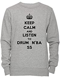 Keep Calm And Listen To Drum N Bass Unisexo Hombre Mujer Sudadera Jersey Pullover Gris Unisex Todos Los Tamaños Men's Women's Jumper Sweatshirt Grey All Sizes