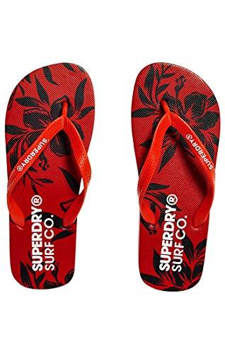 Superdry Herren Super Sleek AOP Flip Flop Zehentrenner, Multicolore (Yacht Club Red Hibiscus), 40/41 EU