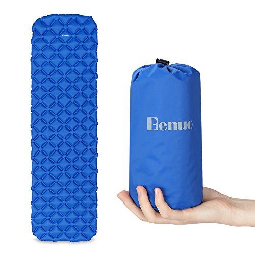 Benuo Camping Luftmatratze Aufblasbare Isomatte Ultraleicht für Outdoor Aufblasbare Matratze Trekking Isomatte Camping Schlafmatte Wasserdicht Reißfest Faltbar Blau