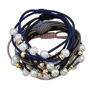 Feelontop® 7pcs / set buntes elastisches Seil-Perlen-Goldmetall bördelt Stirnband-Zusätze mit Schmucksache-Beutel