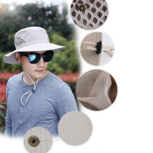 Leisial Homme Anti-soleil Respirant Casquettes visières Pliable Été Anti UV Chapeau Beige