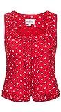 Nübler Trachtenmieder Sigrid Rot, Gr. 40, Streublumen, Figurbetont, Rüschen, Reißverschluss