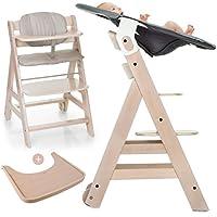 Hauck Beta Plus Newborn Set - Baby Holz Hochstuhl ab Geburt mit Liegefunktion / inkl. Aufsatz für Neugeborene, Sitzpolster, Tisch / mitwachsend, höhenverstellbar - White-Washed Dots