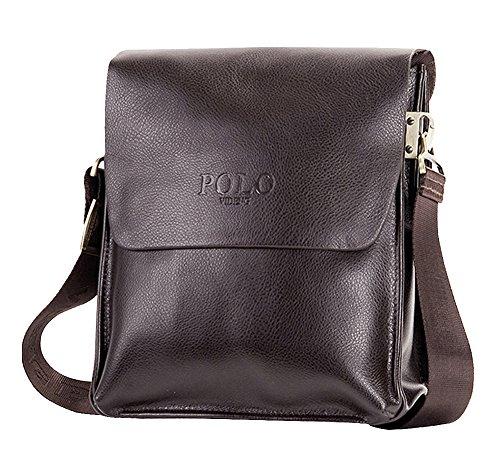MissFox Herren Geschäft Tasche Vertikal Version Normallacks Verstellbaren und Abnehmbaren Schulterriemen Tasche Braun Klein