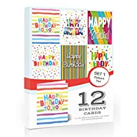 12 x Colourful Birthday Cards Pack & Envelopes by Olivia SamuelTM. Great Value Pack of Birthday Cards. 6 Designs. Made in The UK